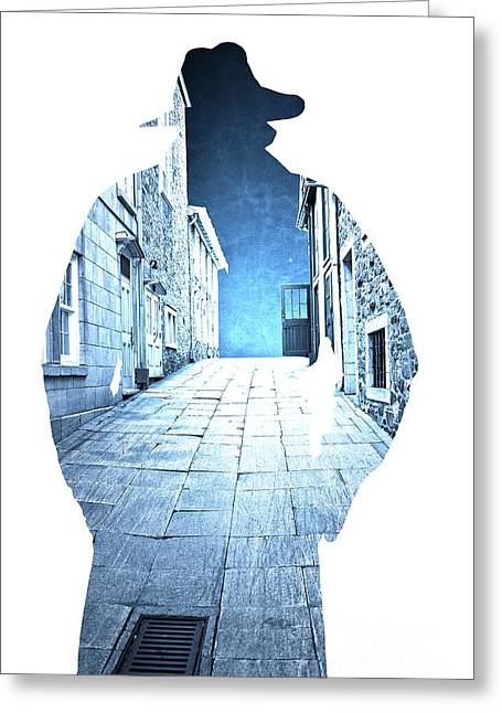 Man's Profile Silhouette With Old City Streets Greeting Card by Edward Fielding