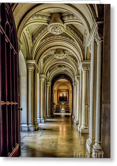 Mansion Hallway Greeting Card by Adrian Evans