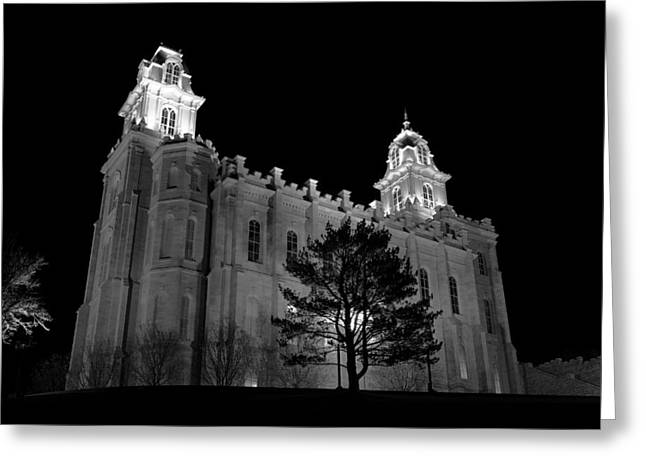 Manti Temple Black And White Greeting Card
