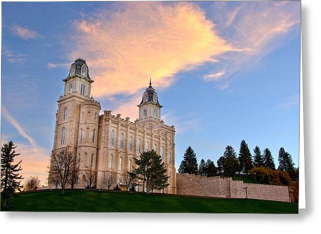 Manti Temple Morning Greeting Card by David Andersen