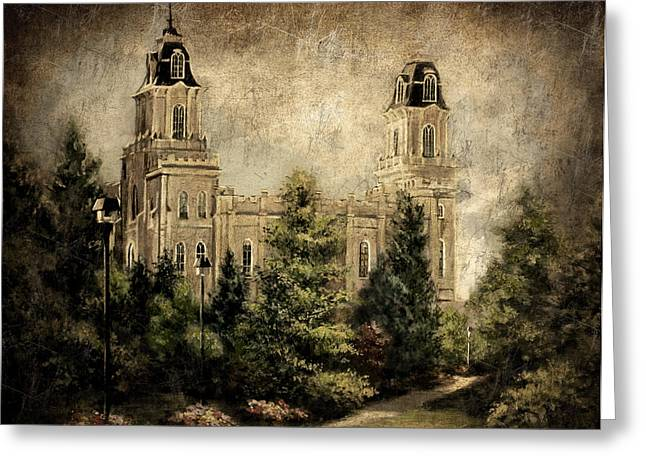 Manti Utah Temple-pathway To Heaven Antique Greeting Card