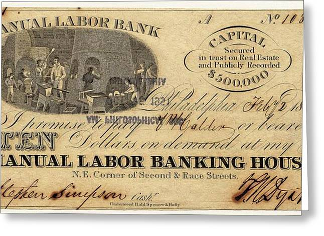 Manual Labor Bank Note Greeting Card by American Philosophical Society
