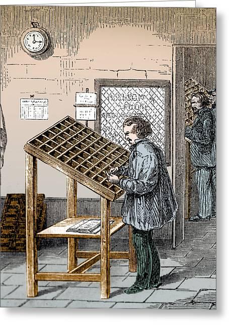 Manual Typesetter, 19th Century Greeting Card
