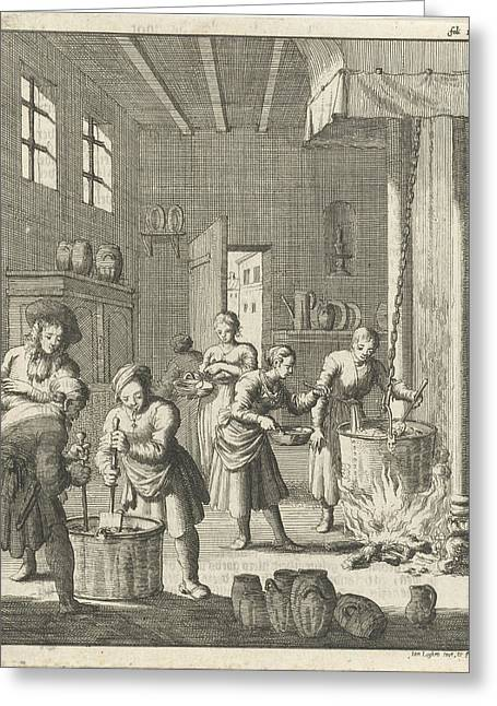 Manufacture Of Sorbet In A Kitchen At Rosette Greeting Card by Jan Luyken