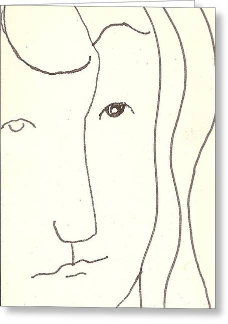 Greeting Card featuring the drawing Manwoman by Rod Ismay