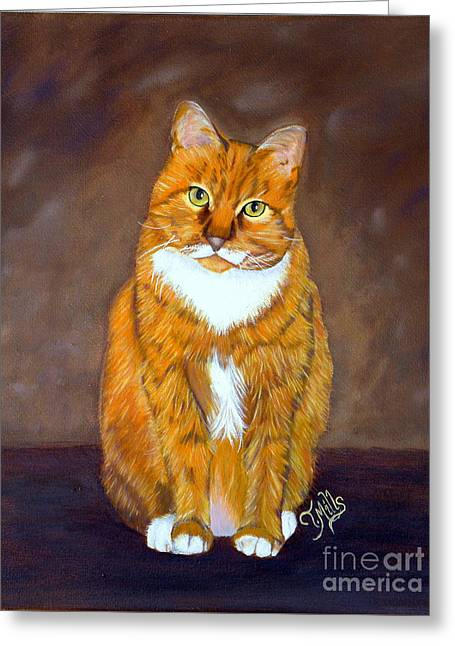 Greeting Card featuring the painting Manx Cat by Terri Mills
