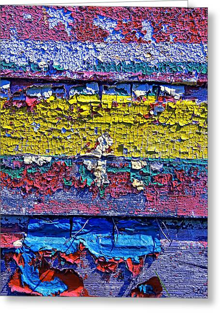 Many Colors Paint Peeling Greeting Card by Garry Gay