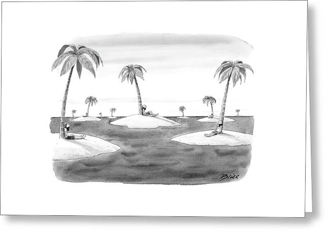 Many Desert Islands Greeting Card by Harry Bliss