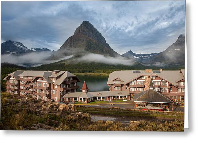 Many Glacier Hotel Greeting Card by Jack Bell