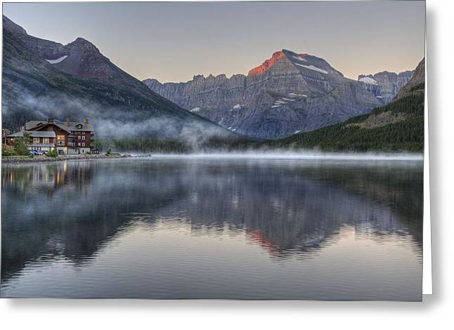 Many Glacier Hotel On Swiftcurrent Lake Greeting Card
