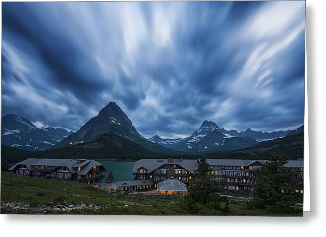 Many Glacier Lodge Greeting Card by Mark Kiver