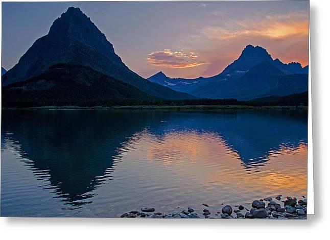Many Glacier Sunset Greeting Card by Darlene Bushue