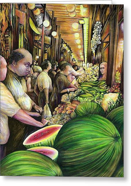 Many Men Many Melons Budapest Hungary Greeting Card by Gaye Elise Beda