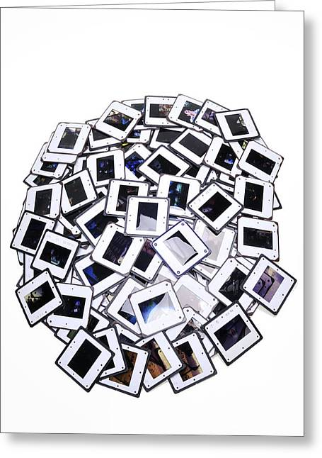 Many Old Color Slides White Background Greeting Card by Matthias Hauser