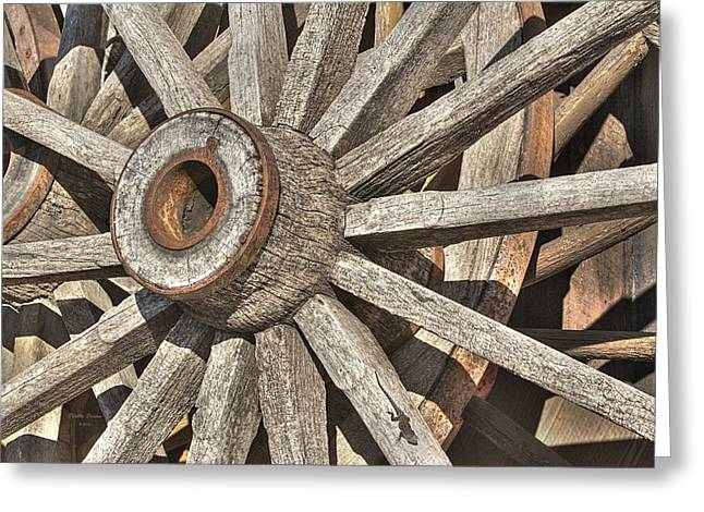 Many Wooden Wheels Greeting Card by Phyllis Denton