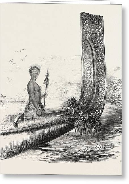 Maori Chief, And Carved Stern Of A New Zealand Canoe Greeting Card