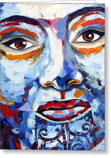 Maori Girl By Lisa Elley. Palette Knife Painting In Oil Greeting Card
