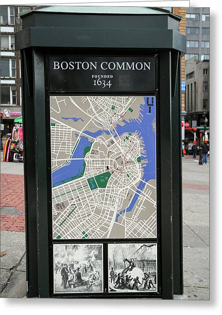 Map And Historical Drawings On A Kiosk Greeting Card