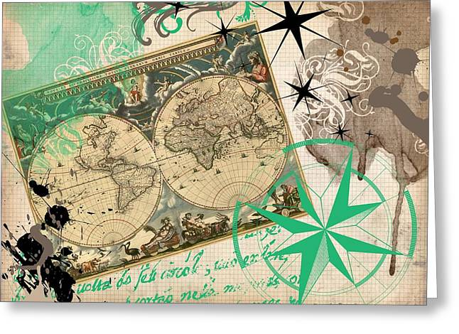 Map Collage Greeting Card by Cindy Edwards