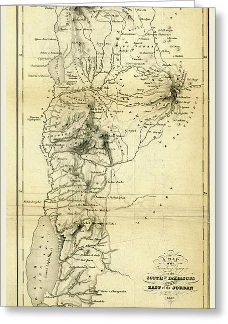 Map Countries South Of Damascus And East Of Jordan Greeting Card by Litz Collection