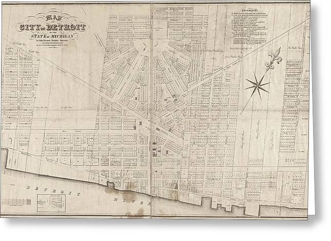 Greeting Card featuring the painting Map Detroit, 1835 by Granger
