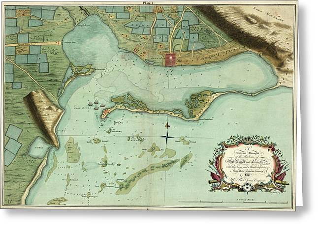 Map Jamaica, 1756 Greeting Card