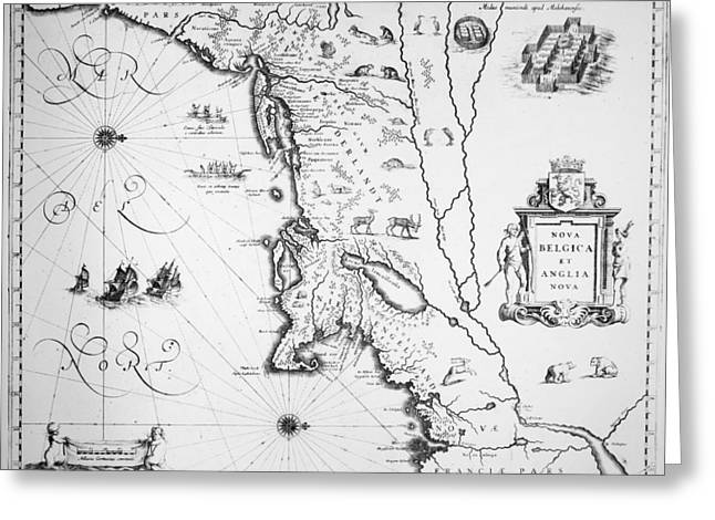 Map New England, 1635 Greeting Card