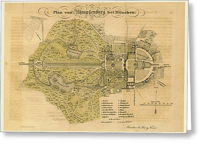Map Nymphenburg Near Munchen Germany Greeting Card by Litz Collection