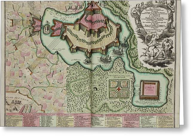 Map Of A Fortification On An Island Greeting Card