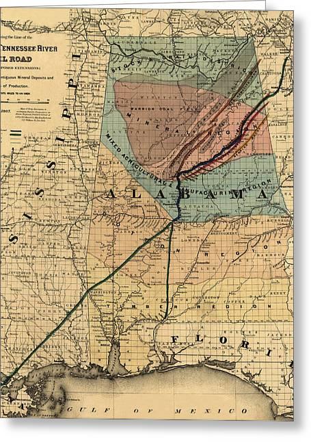 Map Of Alabama 1867 Greeting Card