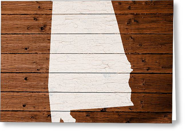 Map Of Alabama State Outline White Distressed Paint On Reclaimed Wood Planks. Greeting Card
