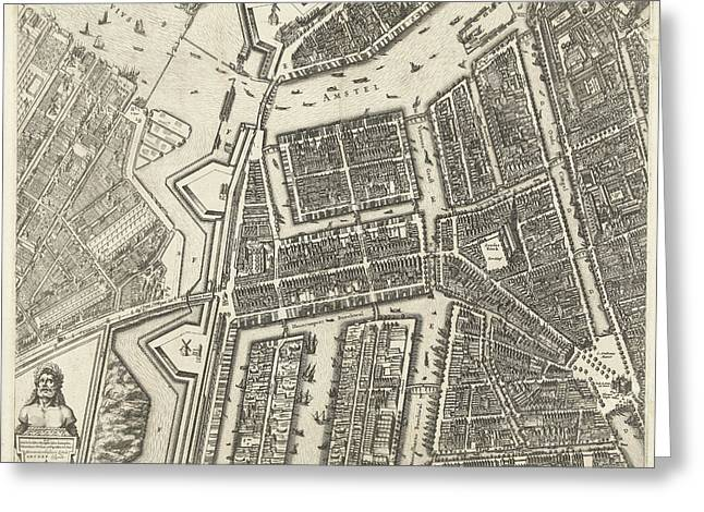 Map Of Amsterdam Leaf Middle Left, 1625 Greeting Card