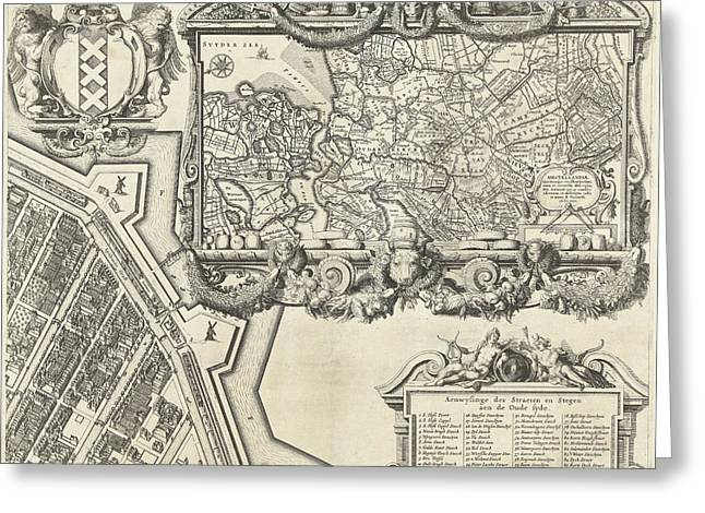 Map Of Amsterdam Leaf Right, 1625, The Netherlands Greeting Card