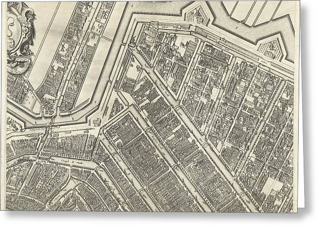 Map Of Amsterdam Leaf Top Center, 1625 Greeting Card