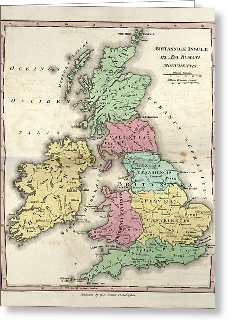 Map Of Ancient Britannia Greeting Card by Library Of Congress, Geography And Map Division