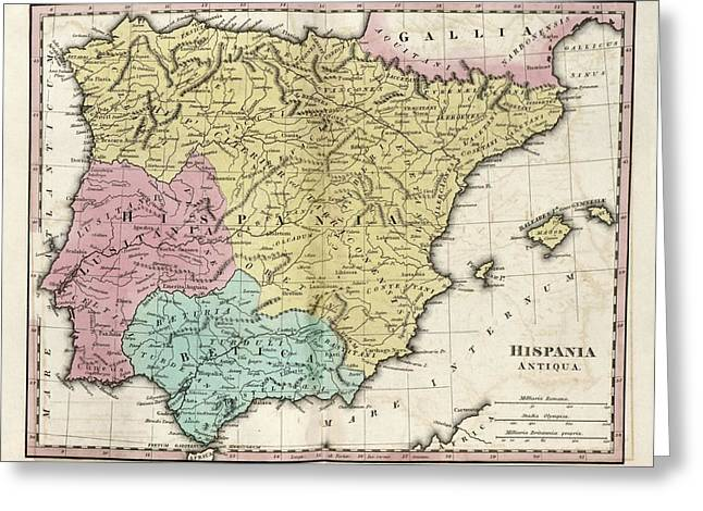 Map Of Ancient Hispania Greeting Card