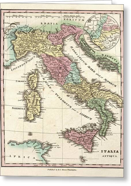 Map Of Ancient Italy Greeting Card by Library Of Congress, Geography And Map Division