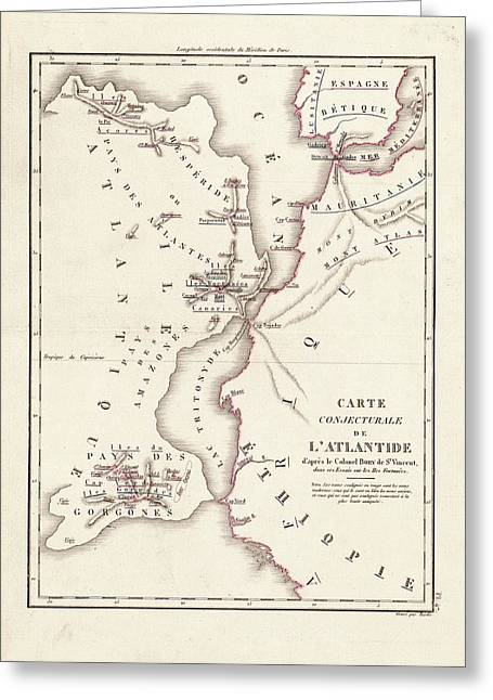 Map Of Atlantis Greeting Card by Library Of Congress, Geography And Map Division