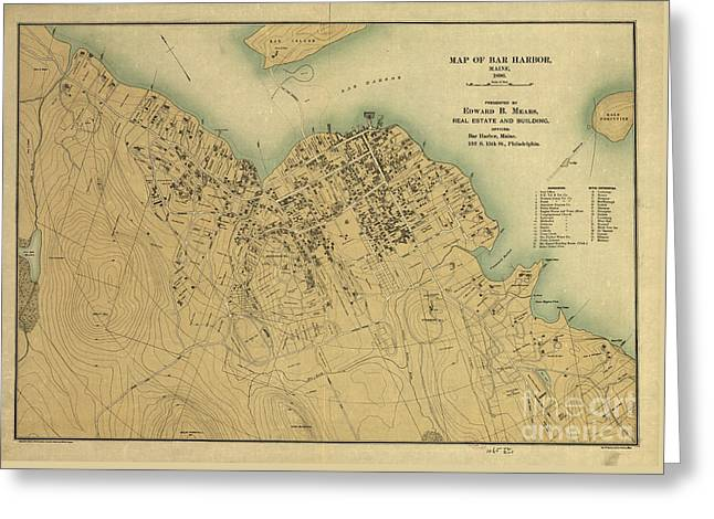 Map Of Bar Harbor Maine 1896 Greeting Card by Edward Fielding