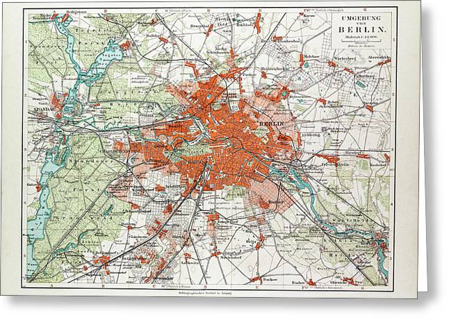 Map Of Berlin And The Surrounding Area Germany 1899 Greeting Card by German School