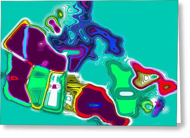 Map Of Canada Digital Painting Greeting Card by Eti Reid