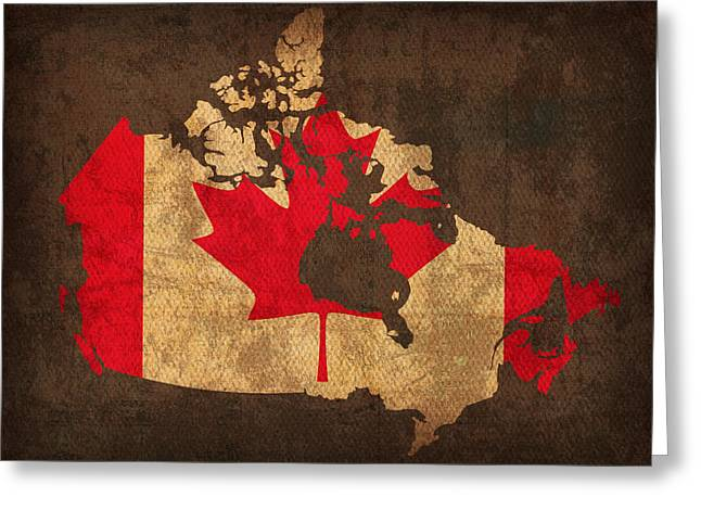 Map Of Canada With Flag Art On Distressed Worn Canvas Greeting Card by Design Turnpike