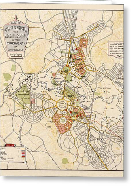 Map Of Canberra 1927 Greeting Card by Andrew Fare