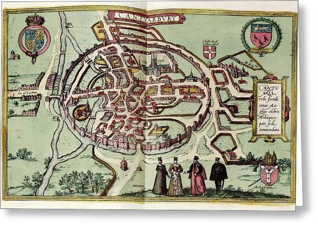 Map Of Canterbury Greeting Card