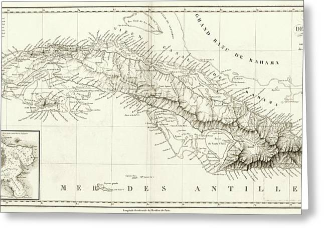 Map Of Cuba Greeting Card by Library Of Congress, Geography And Map Division