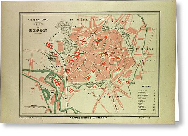 Map Of Dijon France Greeting Card by French School