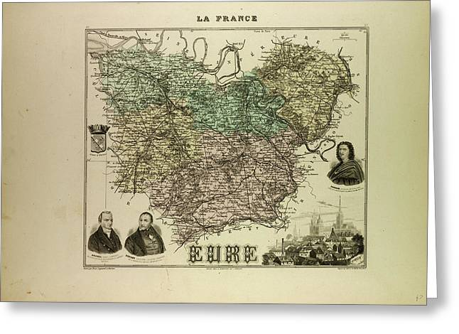 Map Of Eure 1896 France Greeting Card by French School