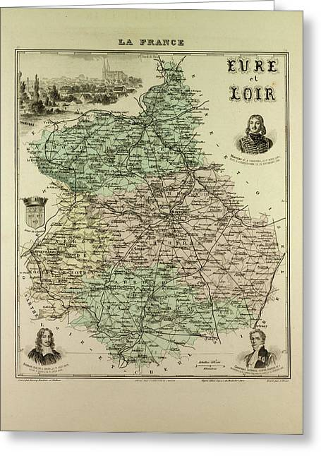 Map Of Eure And Loir 1896 France Greeting Card by French School