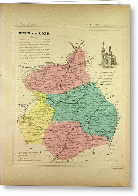Map Of Eure Et Loir France Greeting Card by French School