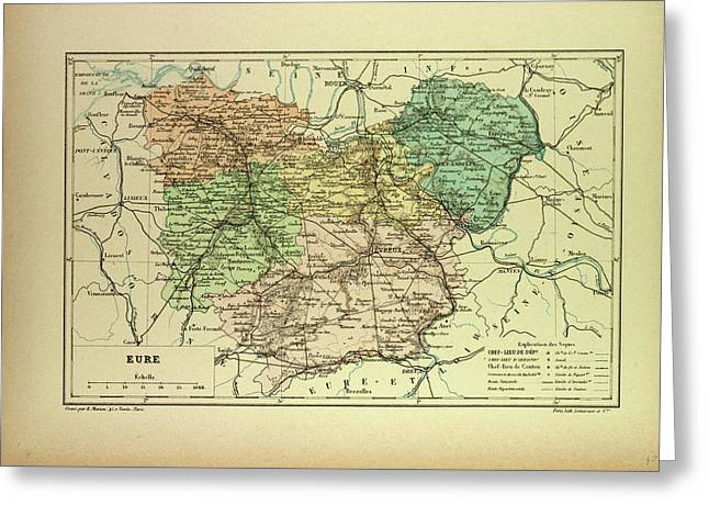 Map Of Eure France Greeting Card by French School